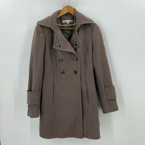Kenneth Cole Long Wool Trench Coat Jacket Peacoat